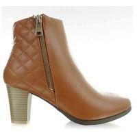 Buty obuwie damskie Botki na obcasie 812 camel