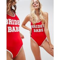 recycled brides babe slogan swimsuit with contrast bind in red - red marki Asos design