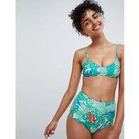 tropical bird print bikini top in tropical print - multi marki Monki