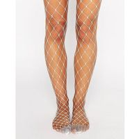 ASOS DESIGN oversized fishnet tights in white - White