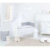 Mamo-tato dwustronna pościel 12-el wróżki szare / mini gwiazdki białe na szarym do łóżeczka 70x140cm - moskitiera