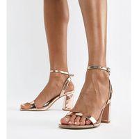 hong kong barely there block heeled sandals in rose gold - gold marki Asos design