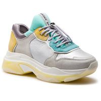 Sneakersy BRONX - 66167-K BX 1525 Off White/Turquoise/Yellow, kolor szary
