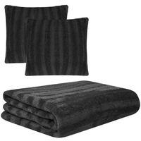 Vidaxl komplet trzyczęściowy: koc i poszewki na poduszki ze sztucznego futra, czarny (8718475513223)