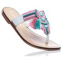 Klapki skórzane japonki  różowo-turkusowe marki Bonprix
