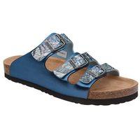 Klapki Dr Brinkmann 701140-5 Niebieskie Bleu Naturform Fussbett - Niebieski ||Popielaty ||Multikolor, kolor niebieski