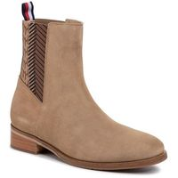 Sztyblety TOMMY HILFIGER - Th Monogram Flat Boot FW0FW04581 Tiger's Eye BRW, sztyblety