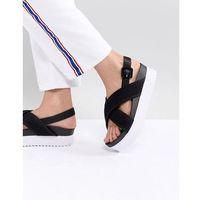 Monki Cross Strap Wedge Sandals - Black, kolor czarny