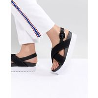 Monki Cross Strap Wedge Sandals - Black