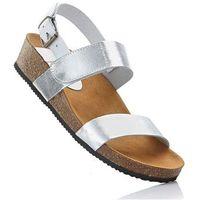 Sandały skórzane srebrno-biały marki Bonprix