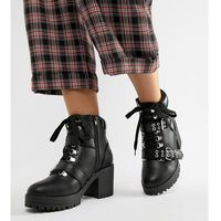 Truffle collection wide fit hiker heeled ankle boots - black