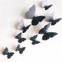 Naklejki 3D motyle z magnesem czarny, 12 szt.,