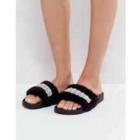 faux fur embellished slider - black, River island