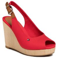 Tommy hilfiger Espadryle - iconic elena sling back wedge fw0fw04789 primary red xlg