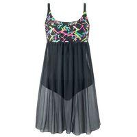 Sukienka kąpielowa bonprix czarno-różowy, sukienka