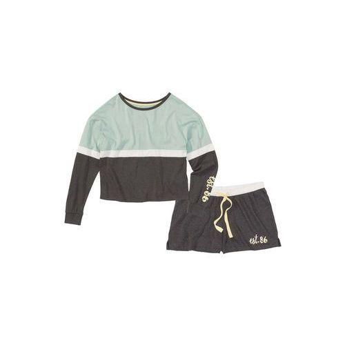 Piżama z krótkimi spodniami bonprix antracytowy melanż - miętowy z nadrukiem, poliester