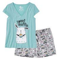 Piżama z krótkimi spodenkami bonprix jasnoszary melanż - morski pastelowy