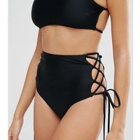 mix & match lattice high waist bikini bottom - black, South beach