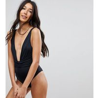 ASOS DESIGN Tall recycled plunge ruched front swimsuit - Black, kolor czarny