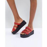 Vagabond Bonnie Red Strappy Leather Flatform Sandals - Red, kolor czerwony