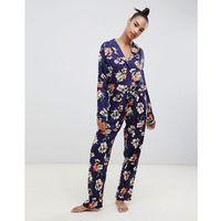 ASOS DESIGN oversized sketched floral print traditional 100% Modal trouser set - Navy, kolor szary