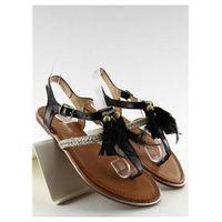 Sandałki z piórkami boho sl76 black marki Inello
