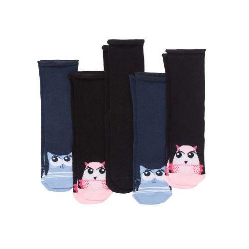 Skarpetki damskie z motywami zwierzątek (5 par) czarno-ciemnoniebieski marki Bonprix