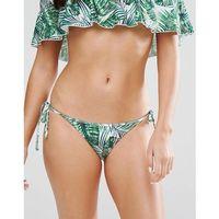 Playful Promises Green Palm Print Tie Side Bikini Bottoms - Red, kolor zielony