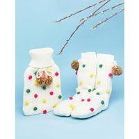 christmas pom pom hot water bottle and socks set - cream marki Asos
