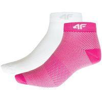 Skarpetki damskie sod204 - różowy neon+biały, 4f