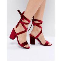 tie ankle block velvet heel sandal - red, Park lane