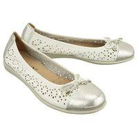CAPRICE 22118-20 120 white/silver deer, baleriny, czółenka damskie - Biały