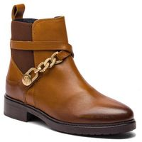 Botki TOMMY HILFIGER - Th Chain Bootie Leat FW0FW03311 Cognac 606, kolor brązowy