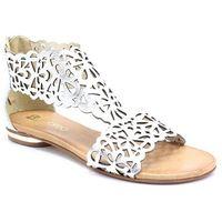 2699 srebrne - płaskie sandały ażurowe - srebrny, Tymoteo