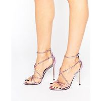 spindle pink mirror strappy heeled sandals - pink, Office