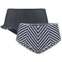 Figi bikini shape (2 pary) bonprix czarny + czarno-biały, kolor czarny