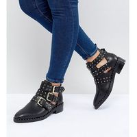 ASOS DESIGN Aries Wide Fit Leather Studded Ankle Boots - Black, kolor czarny