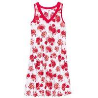 Koszula nocna bonprix biało-czerwony w kwiaty