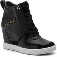 Tommy hilfiger Sneakersy - dressy sneaker wedge fw0fw04153 black 990