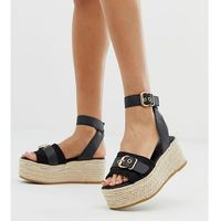 River Island flatform espadrille sandals with buckle in black - Black, kolor czarny
