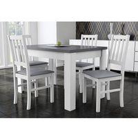 Śliczny zestaw biało-szary stół + 4 krzesła