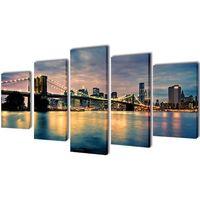 vidaXL Zestaw obrazów Canvas 200 x 100 cm Rzeka z Mostem Brooklińskim