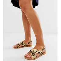wide fit valid leather cross strap flat sandals in leopard - multi, Asos design