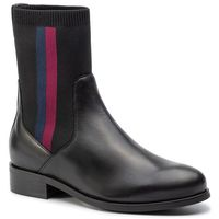 Sztyblety - knitted flat boot fw0fw04156 black 990 marki Tommy hilfiger