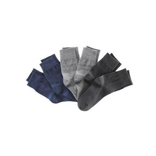 Skarpetki (6 par), kolorowe bonprix czarny + ciemnoniebieski + ciemnoszary, kolor czarny