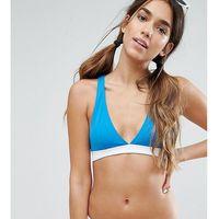 Monki Plunge Cross Back Bikini Top with Contrast Band - Blue, bikini