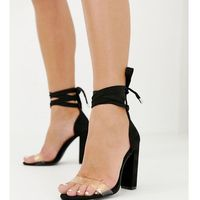 Asos design wide fit witness clear barely there block heeled sandals - black