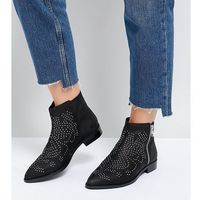 ASOS AUTO PILOT Wide Fit Suede Studded Ankle Boots - Black, kolor czarny