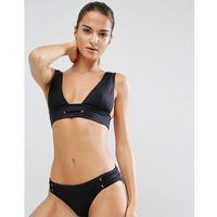ASOS Mix and Match Deep Band High Triangle Plunge Bikini Top with Eyelets - Black, bikini