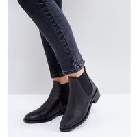 ASOS ABSOLUTE Wide Fit Leather Chelsea Ankle Boots - Black, kolor czarny